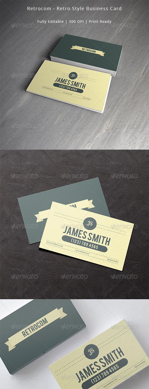 GraphicRiver Retrocom Retro Style Business Card 7487601