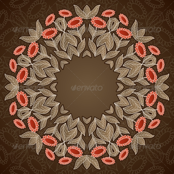 GraphicRiver Abstract Pastel Old Style Sunflowers Round Pattern 7487614