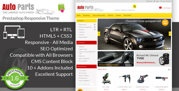 Auto Parts - Tools Prestashop Theme - PrestaShop eCommerce