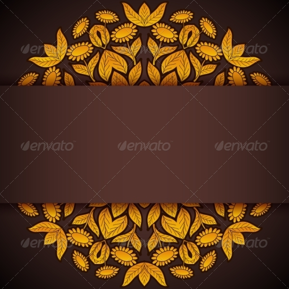 GraphicRiver Gold and Brown Round Sunflowers Invitation 7487808