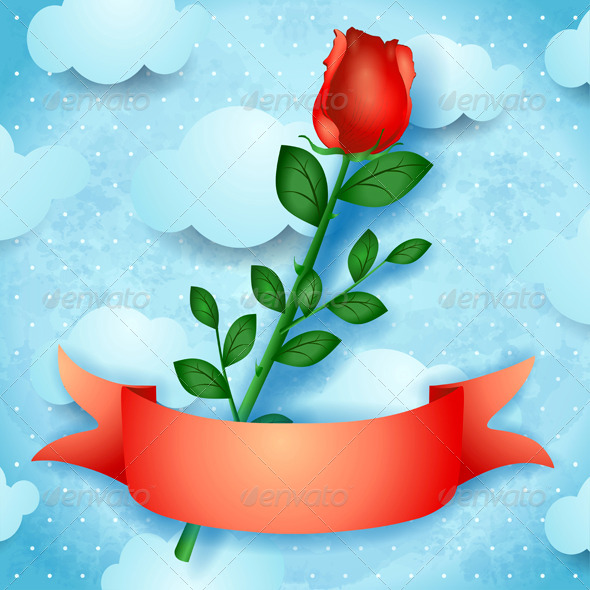 GraphicRiver Rose on Sky Background 7487887
