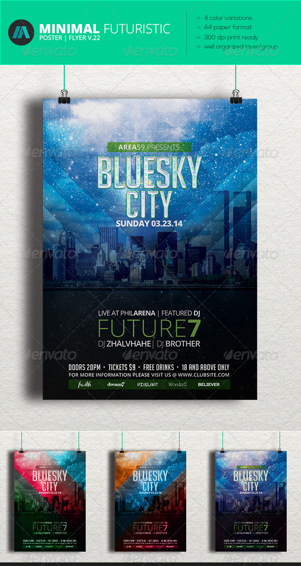 GraphicRiver Minimal Futuristic Poster Flyer V.22 7487889