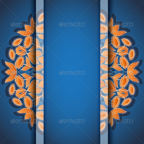 Round Floral Orange Blue Invitation Card