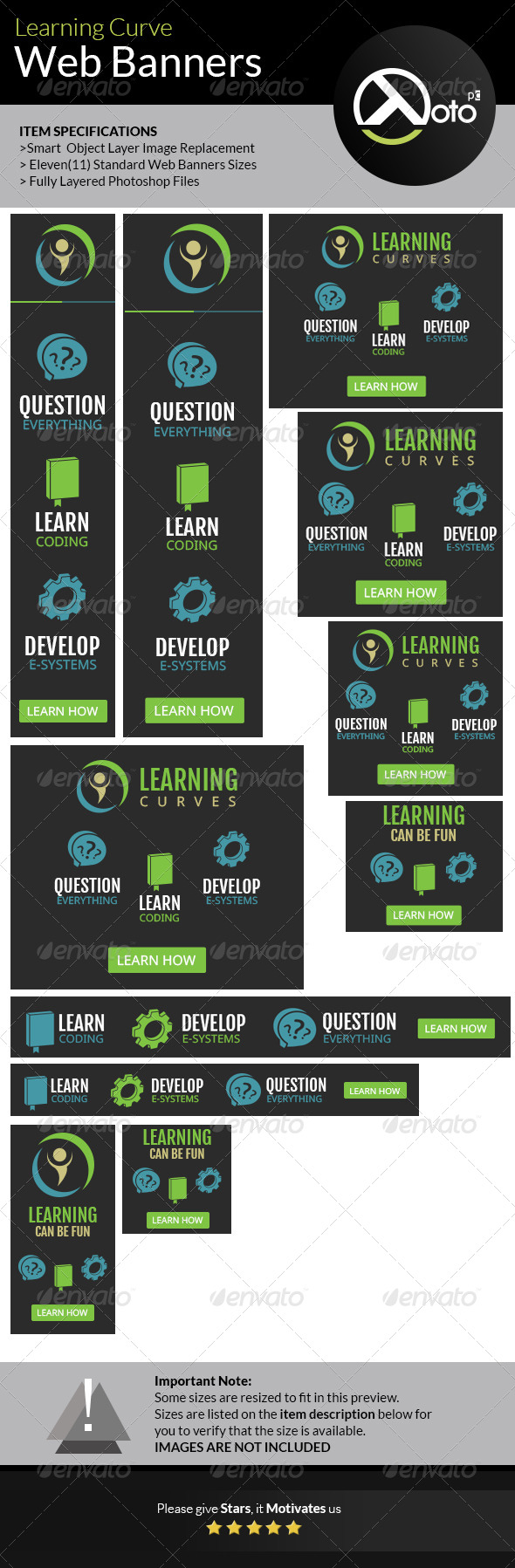 GraphicRiver Learning Curve Online Course Web Banners 7488242
