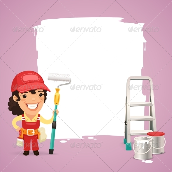GraphicRiver Female Painter with Text Box 7488246