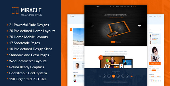ThemeForest Miracle Mega PSD Pack 7488307