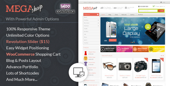 ThemeForest Mega Shop WooCommerce Responsive Theme 7488456