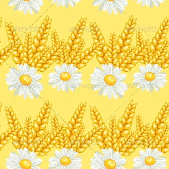 GraphicRiver Summer Chamomile Field Seamless Pattern 7488981