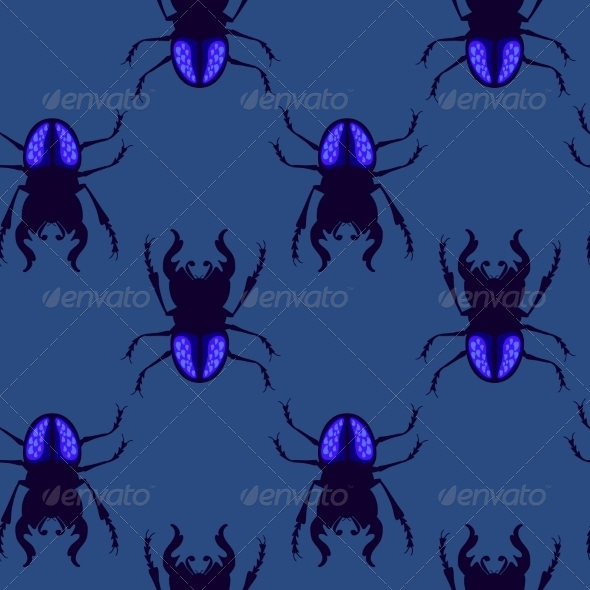 Stag Beetle Seamless Pattern