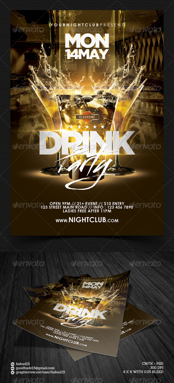 GraphicRiver Drink Party Flyer Template 7489188