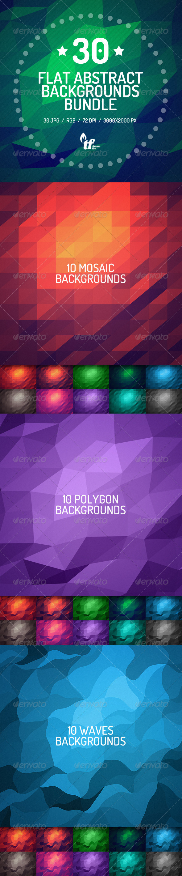 GraphicRiver 30 Flat Abstract Backgrounds Bundle 7489202