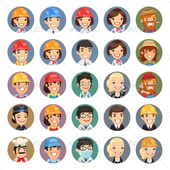 GraphicRiver Professions Vector Characters Icons Set1.1 7489262