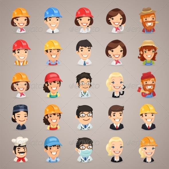 GraphicRiver Professions Vector Characters Icons Set1.3 7489266