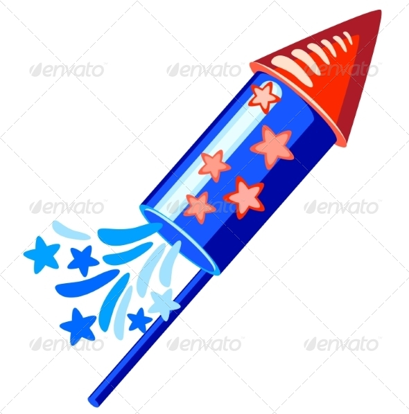 GraphicRiver 4th of July Blue Rocket 7489271