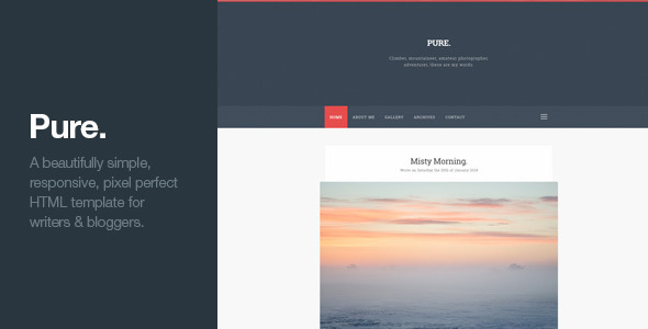 ThemeForest Pure Responsive Blogging HTML Template 7489855