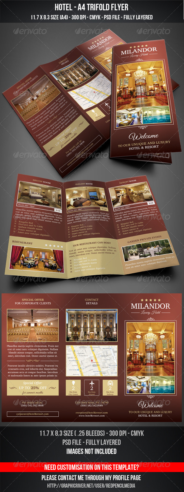 GraphicRiver HOTEL A4 TRIFOLD FLYER 7489986