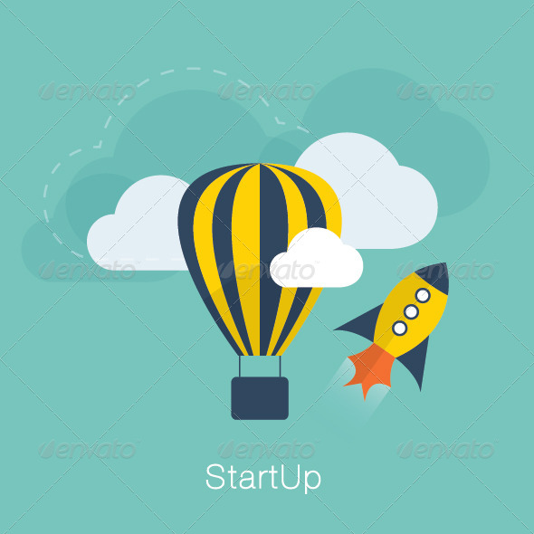 GraphicRiver Flat New Project Startup Concept 7489996