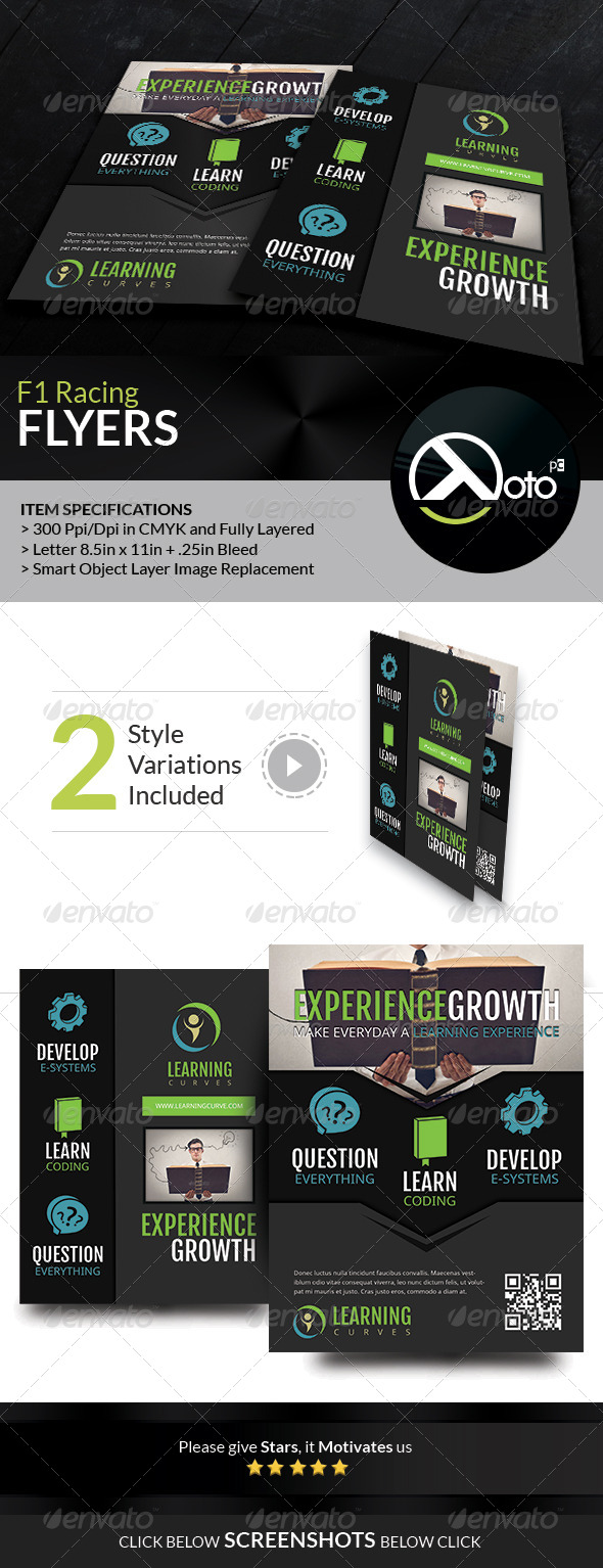 GraphicRiver Learning Curve Online Course Flyers 7490057