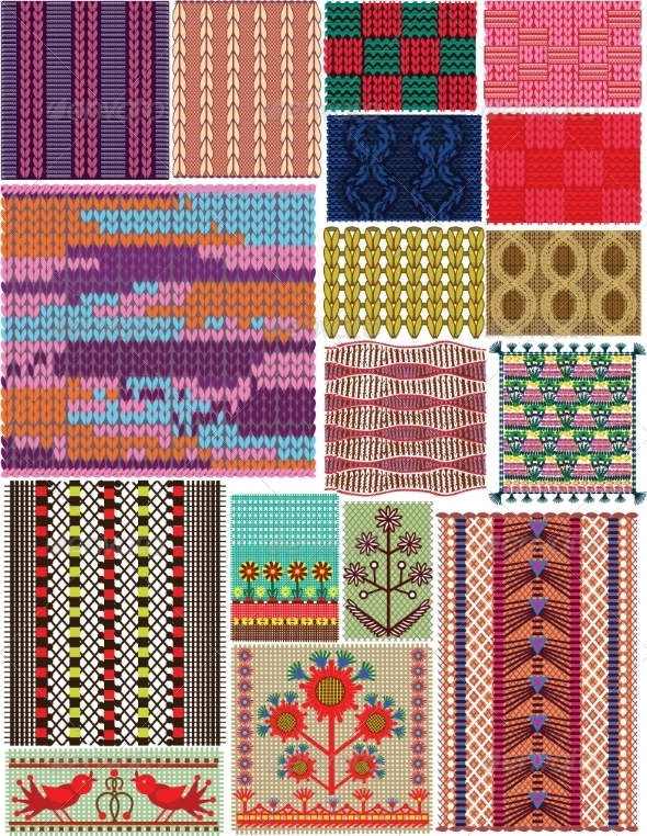 GraphicRiver Set of Crocheted Backgrounds Traditional Style 7490065