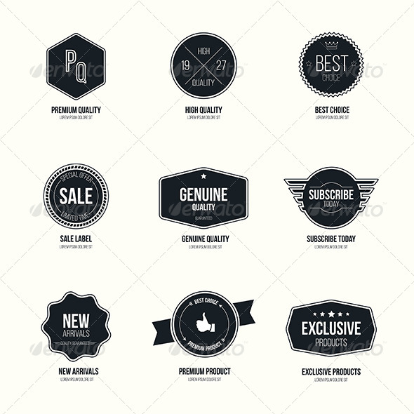GraphicRiver Set of Retro Minimalistic Badges and Labels 7490314