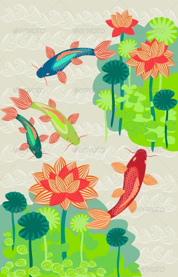 GraphicRiver Carp and Lilly Background 7490322