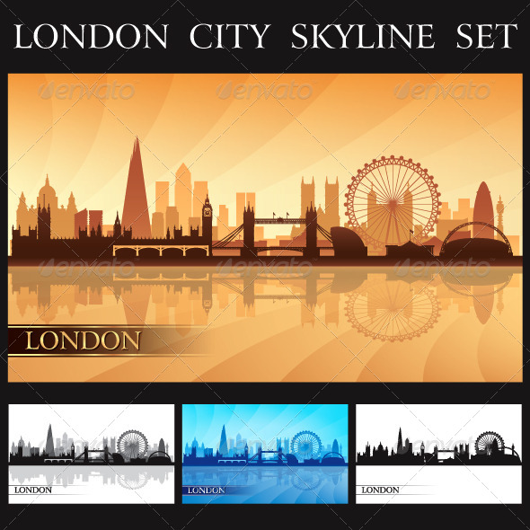 GraphicRiver London City Skyline Silhouettes Set 7490497