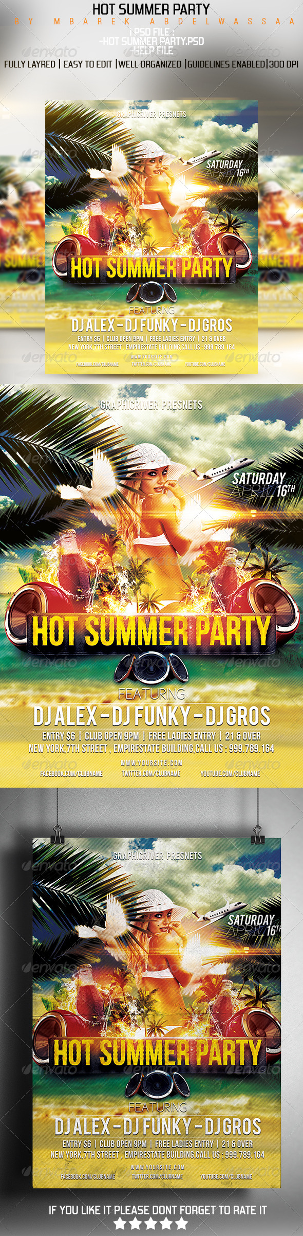 GraphicRiver Hot Summer Party flyer 7468950