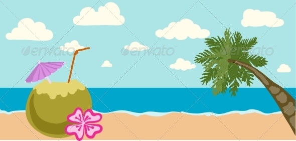 GraphicRiver Illustration of Summer Tropical Banner 7490689