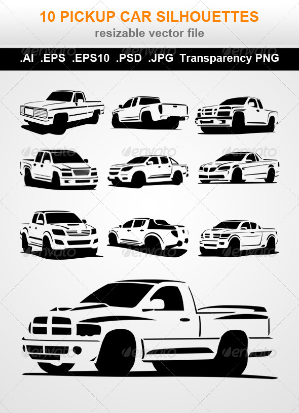 GraphicRiver 10 Pickup Car Silhouettes 7490882