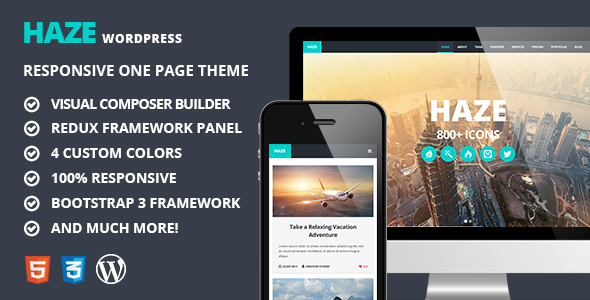 Haze - One Page Retina WordPress Theme