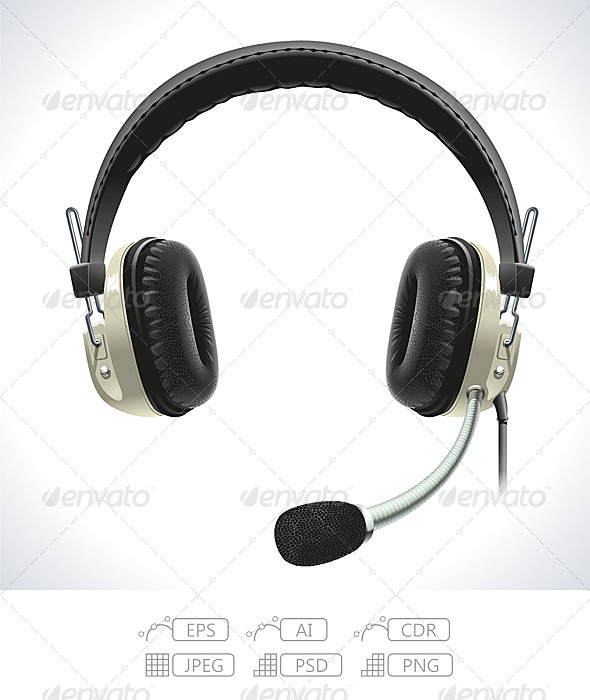 GraphicRiver Old Headphones with Microphone 7491646