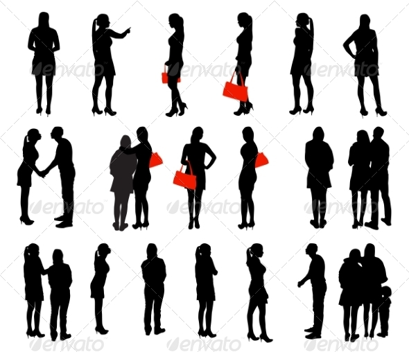 GraphicRiver Set of Silhouette People 7491757