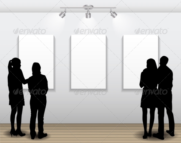 GraphicRiver Peoples Silhouettes Looking on the Empty Frame 7492203