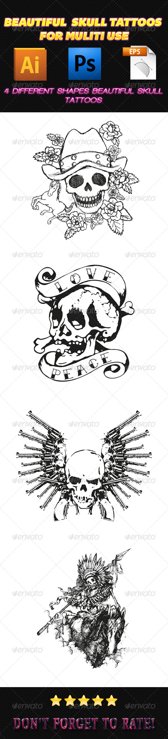 GraphicRiver Skull Tattoos 02 7492231