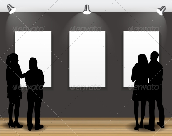 GraphicRiver Peoples Silhouettes Looking on the Empty Frames 7492429
