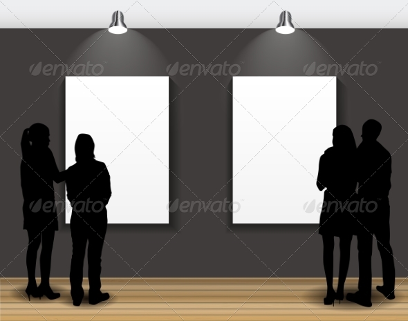 GraphicRiver Peoples Silhouettes Looking on the Empty Frames 7492431