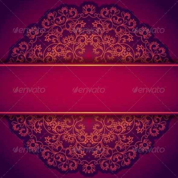 GraphicRiver Purple Invitation with Lace Floral Ornament 7492444
