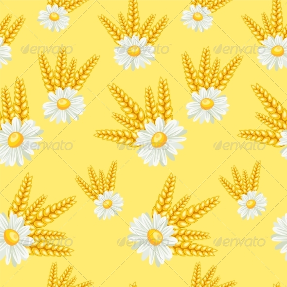GraphicRiver Summer Chamomile Field Seamless Pattern 7492450