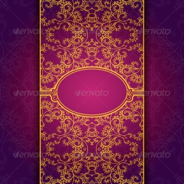 GraphicRiver Gold Abstract Invitation Floral Violet Frame 7492503