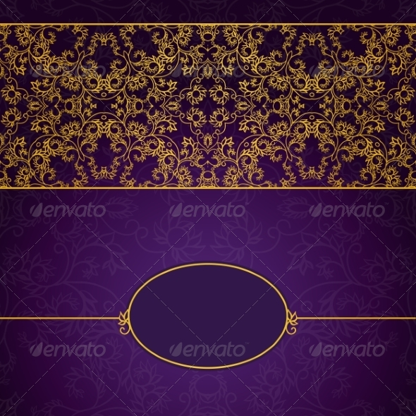 GraphicRiver Abstract Gold and Violet Invitation Frame 7492510