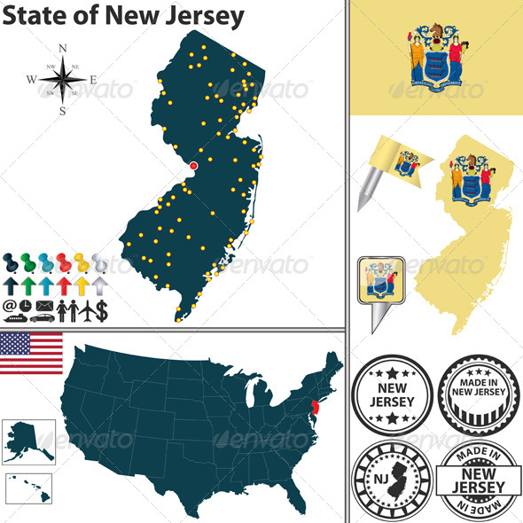 GraphicRiver Map of State New Jersey USA 7492512