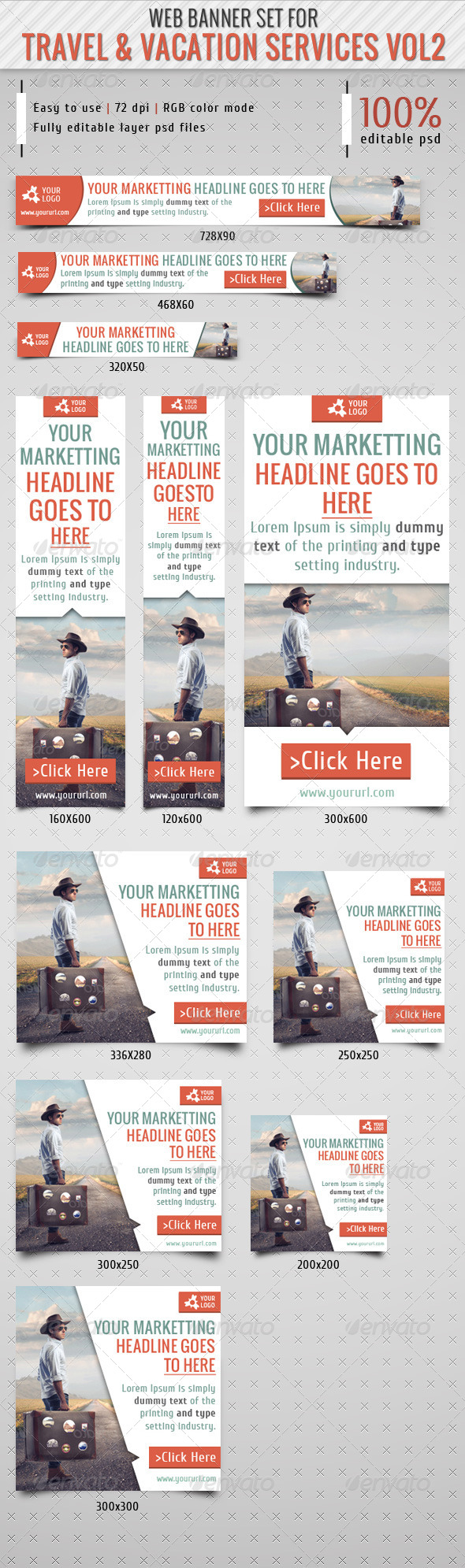 GraphicRiver Travel & Vacation Service Banner Vol2 7492597