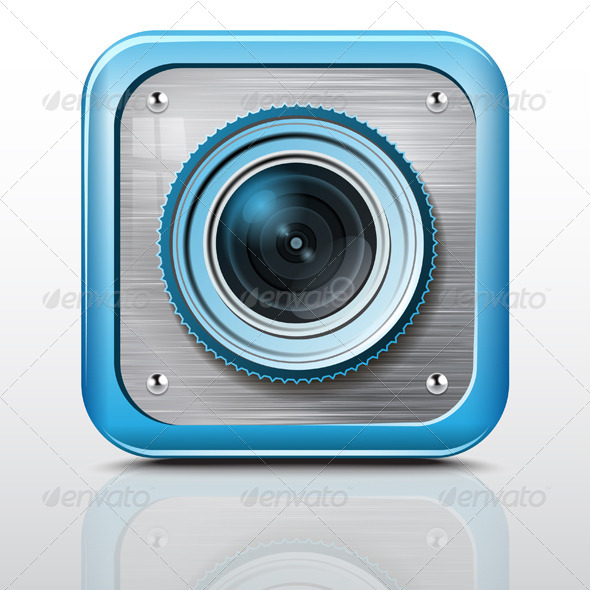 GraphicRiver Icon Camera Metal Structure Blue Case 7492775