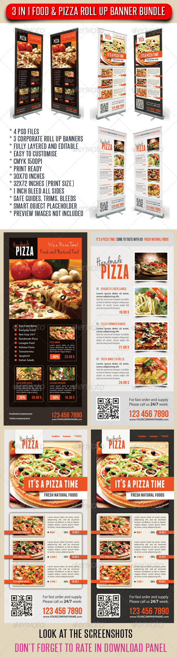 GraphicRiver 3 in 1 Food And Pizza Menu Banner Bundle 03 7492840