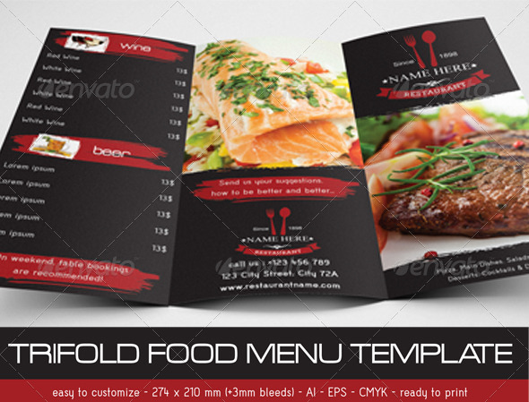 GraphicRiver Trifold Food Menu Template 7492851