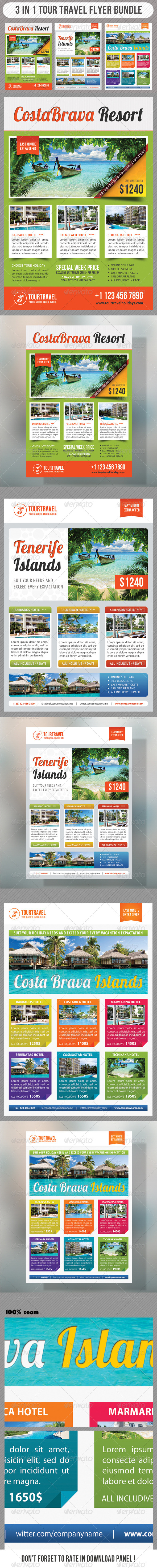 GraphicRiver 3 in 1 Tour Travel Flyer Bundle 03 7492920