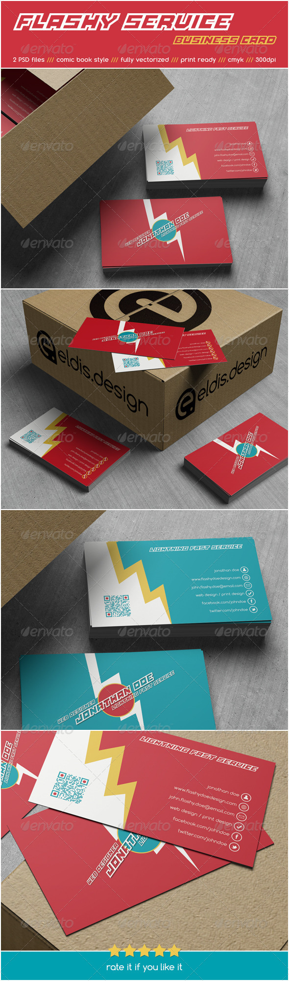 Flashy Service Business Card - Retro/Vintage Business Cards