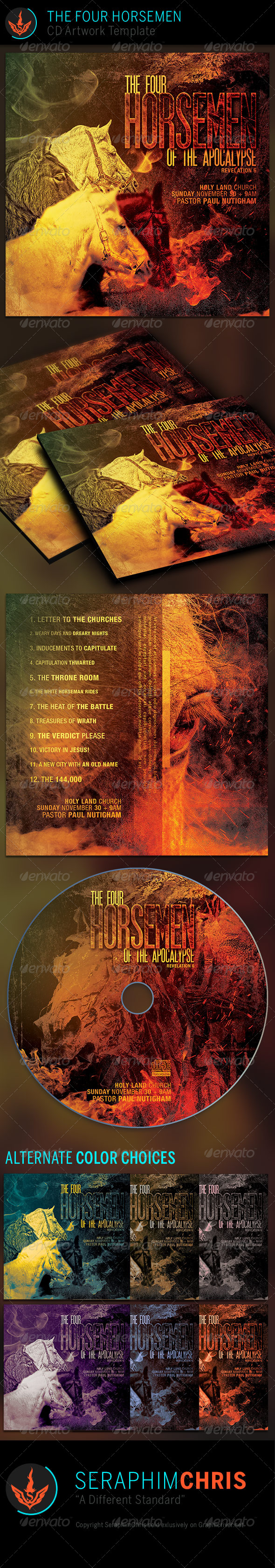 The Four Horsemen: CD Artwork Template  - CD & DVD Artwork Print Templates