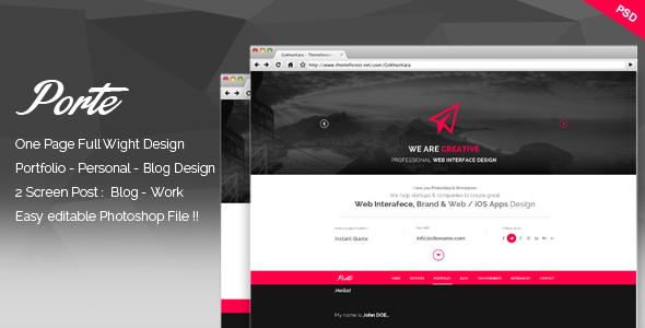 Porte - Personal Resume PSD Theme - Portfolio Creative