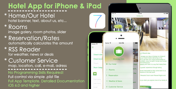 CodeCanyon Hotel App Full iOS Template for iPhone iPad 7414977